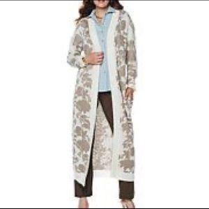Marla Wynne Duster Sweater Long Length M Floor C